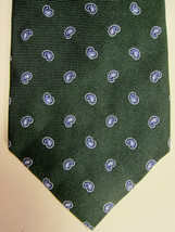NEW Brooks Brothers Dark Green With Small Blue Paisley Silk Tie Made USA - $38.99