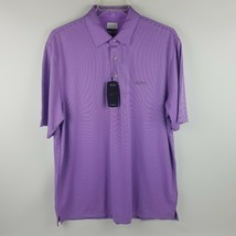 Greg Norman Men Play Dry Performance Mesh Striped Polo Purple G7XMK414 M... - $39.95
