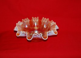 Dugan Carnival Glass Peach Opalescent Single Flower 3 In 1 Ruffled Bowl. - $25.00