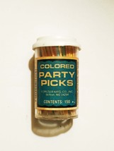 Vintage 50s Forster Colored Party Toothpicks in Original cylinder with cover