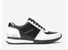 """Michael Kors """"ALLIE"""" Colorblock Leather Silver Black White Wms Sneakers 9 NWOT - $104.99"""