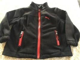Puma Boys Black Red Thick Fleece Winter Jacket Pockets 2T - $14.52