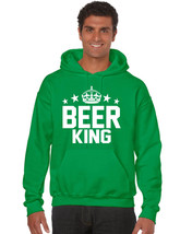Men's Hoodie Beer King St Patrick's Day Outfit Drunk Party Irish Top - $29.94+