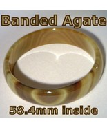Banded Quartz Agate Natural Solid Stone Bangle Bracelet size 58.4mm - £36.00 GBP