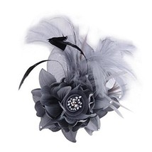 Ladies Retro Pin Brooches Hair Decor Feather And Cloth Flower Brooches, Grey - $13.63