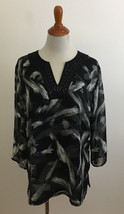JM Collection Beaded V-Neck Gray Black White Brushstroke Blouse sz 14 - $19.79