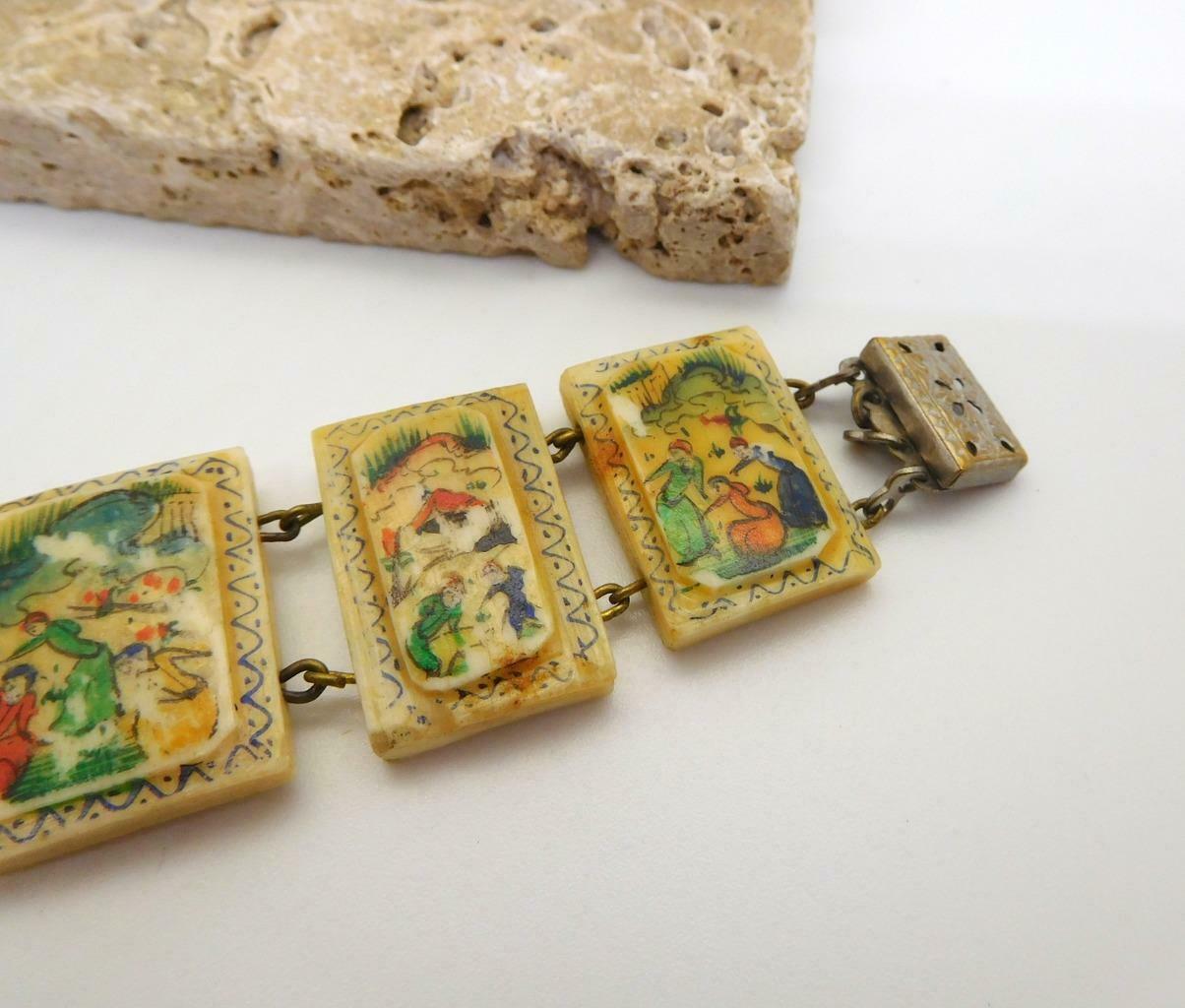 Vintage Hand Painted Oxen Bone Persian Story Panel Bracelet N24 image 5