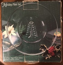 Indiana Glass Holiday Plate Set (4) Christmas Tree Salad Dessert Plates ... - $24.75