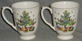 Set (2) Nikko HAPPY HOLIDAYS PATTERN Christmas Tree 10 oz HANDLED MUGS - $22.76