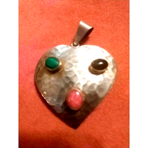 Natural Stone Sterling Heart Pendant - $25.74