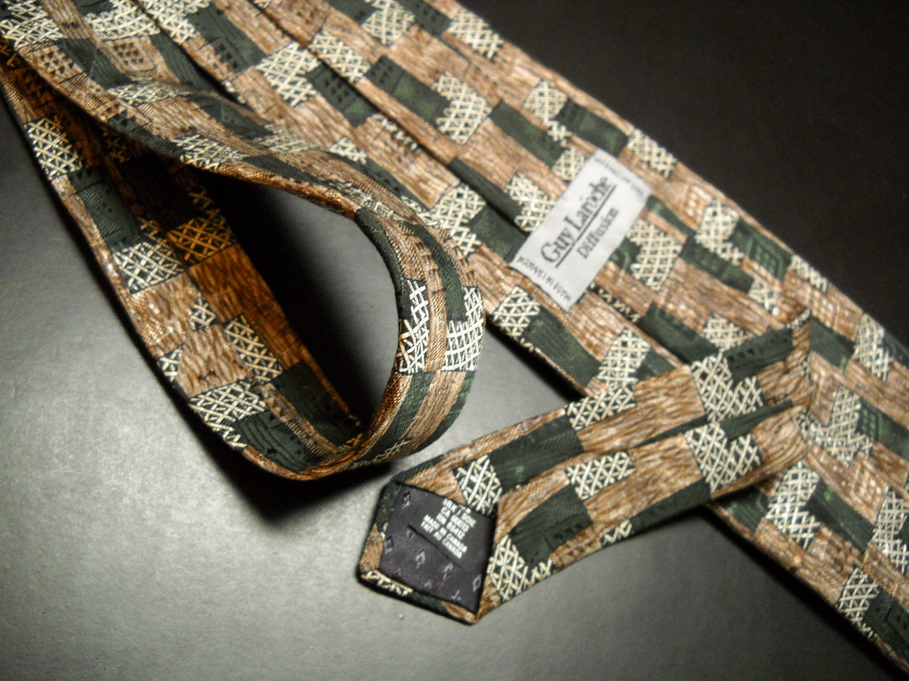 Guy Laroche Diffusion Neck Tie Boxes Greens and Silver Thatched Black on Browns