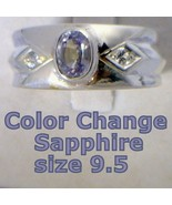 Color Change Sapphire Handmade Sterling 925 Silver Gents Ring size 9.25 - £93.51 GBP