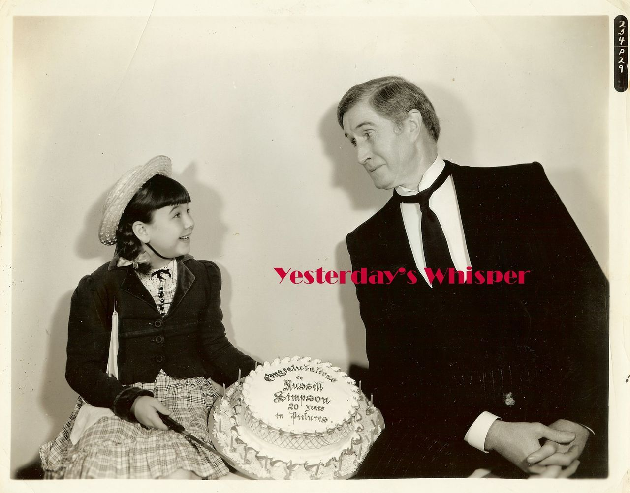 1930s Russell Simpson Jane Withers Cake Studio Photo