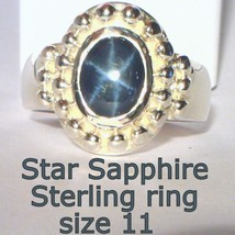 Dark Blue Diffused Star in a Natural Sapphire Handmade Silver Gents Ring... - $171.32