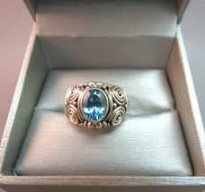 Suarti BA Indonesia Sterling Silver Ring Blue Topaz Stone Size 7 Scroll... - $59.39