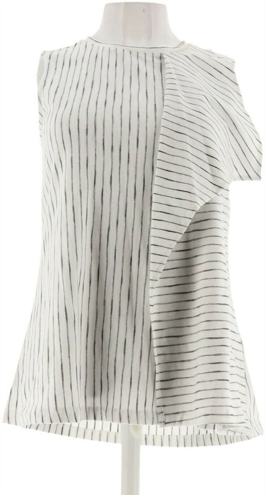 Primary image for H Halston Striped Slvless Tank Flounce Drape White XXS NEW A306896