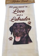 Labrador Black Kitchen Dish Towel  Dog Lab All You Need Is Love Cotton 1... - $11.49