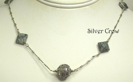 Silver Leaf Gemstone , Textured Bali Focal Sterling Silver Chain Necklace - $29.99