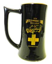 Mug Stein 1974 Winfield NJ Ambulance Fire Department Maltese Black Gold ... - $29.37