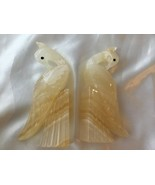 Pair of Vintage Cockatoo Dove Bird Bookends Carved Stone - $21.52