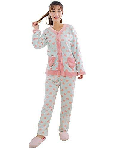 PANDA SUPERSTORE Light Blue Heart Shape Flannel Pajama Set for Women, Medium