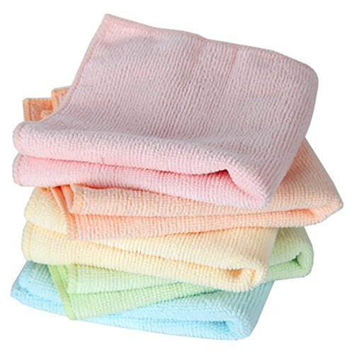Home-X Microfiber Washcloths in Pastel Colors. Set of 5 Wash Cloths