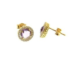 18K YELLOW GOLD EARRINGS CUSHION ROUND PURPLE AMETHYST AND CUBIC ZIRCONIA FRAME image 1