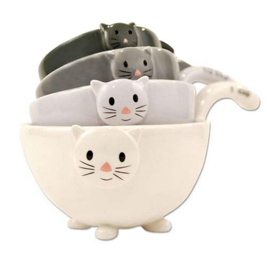 Primary image for SET OF 4 CAT MEASURING CUPS Nesting Ceramic Bowls Cute Stackable Dishwasher Safe