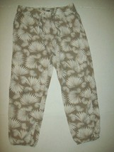 Gap Kids Girls Pants Sz 12 Beige White Rayon Palooza Leaf Print Casual S... - $19.79