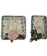 VTG Hand Painted Ceramic Double Light Switch Plug Plate Blue Pink Floral... - $16.91