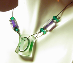 Green and Purple Cane Glass Choker Necklace - $21.95