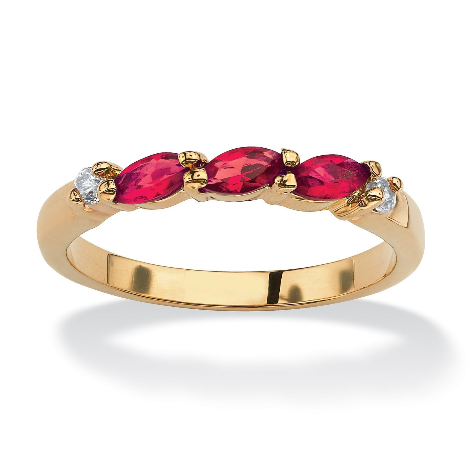 Primary image for Birthstone and CZ 18k Gold-Plated Ring-July-Simulated Ruby
