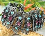 Vintage panel bracelet turquoise amethyst rhinestones chunky thumb155 crop