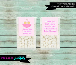 Baby Girl Umbrella Twins Baby Shower Party  Candy Mints Mint Labels Favo... - $3.50
