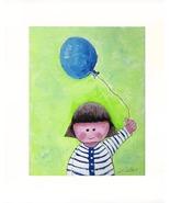 "Girl With Balloon - Acrylic on Canvas Board - Print 8"" X 10"" - $35.00"