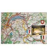 France Postcard Chamonix Mont Blanc Map Tunnel Of St Bernard - $2.84