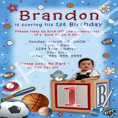 Primary image for All Star Sports Boys Custom Photo Birthday Party Invitations Personalized Unique