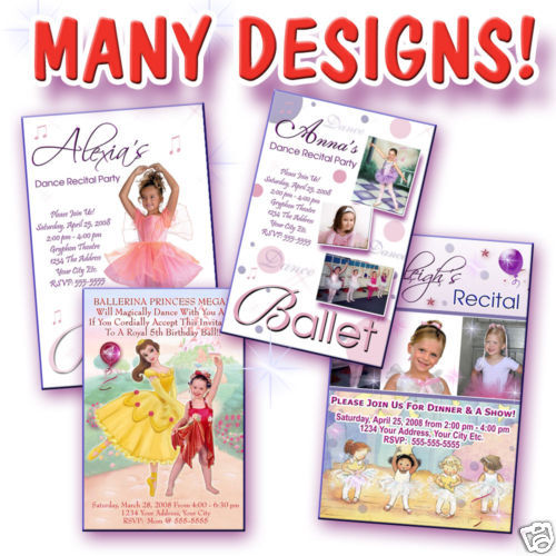 Primary image for Ballet Jazz Dance Recital Custom Photo Birthday Party Invitation Personalized