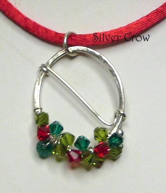 Swarovski Crystal & Argentium Sterling Wreath Style Pendant Necklace