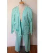AILEEN Wms Pale Green 100% Cotton Knit Pantsuit... - $12.73