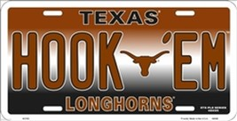 NCAA University of Texas HOOK 'EM Longhorns Metal Car License Plate Sign - $6.95