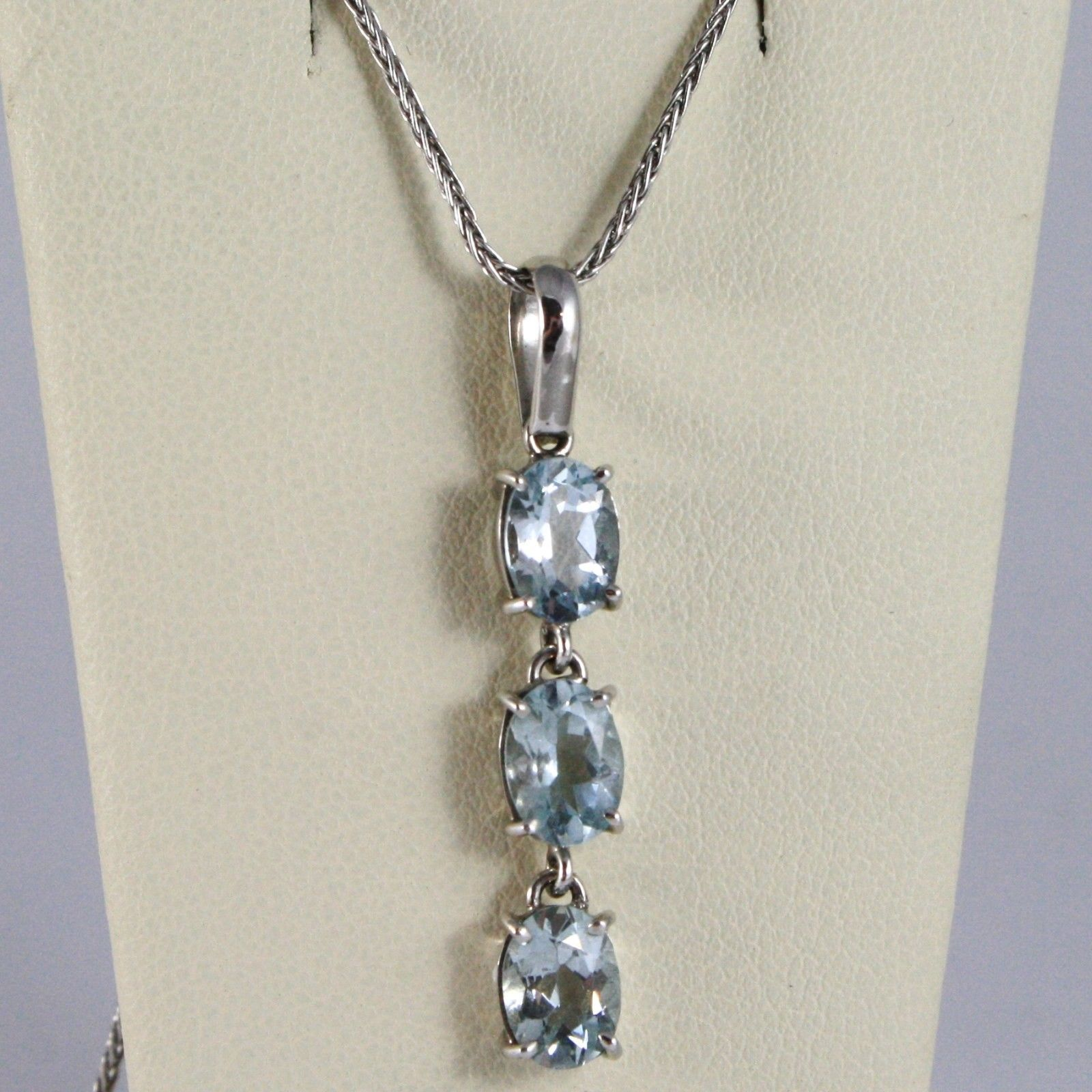 NECKLACE WHITE GOLD 750 - 18K, TRILOGY AQUAMARINE OVAL CT 2.10, CHAIN SPIKE
