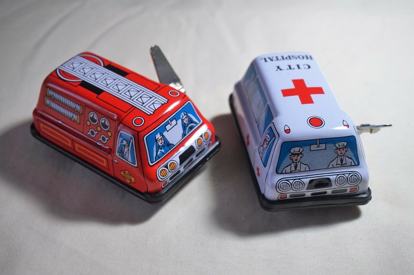 "Primary image for VINTAGE Made in Japan Tin Toy Sanko Wind Up Auto Turn 3"" Fire Engine & Ambulance"