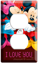 Mickey Mouse Minnie Kissing Power Outlet Wall Plate Cover Girls Kids Room Decor - $8.99