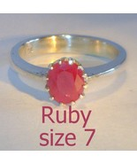 Natural Ruby Handmade Sterling Silver Ladies Ring, Birthstone of July si... - $65.55