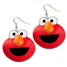 ELMO EARRINGS-Red Monster Sesame Street Novelty Funky Jewelry-DL - $5.97