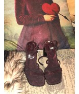 CATHY JEAN Sweet Burgundy Metallic Sandals Size 5 1/2 M - $14.85