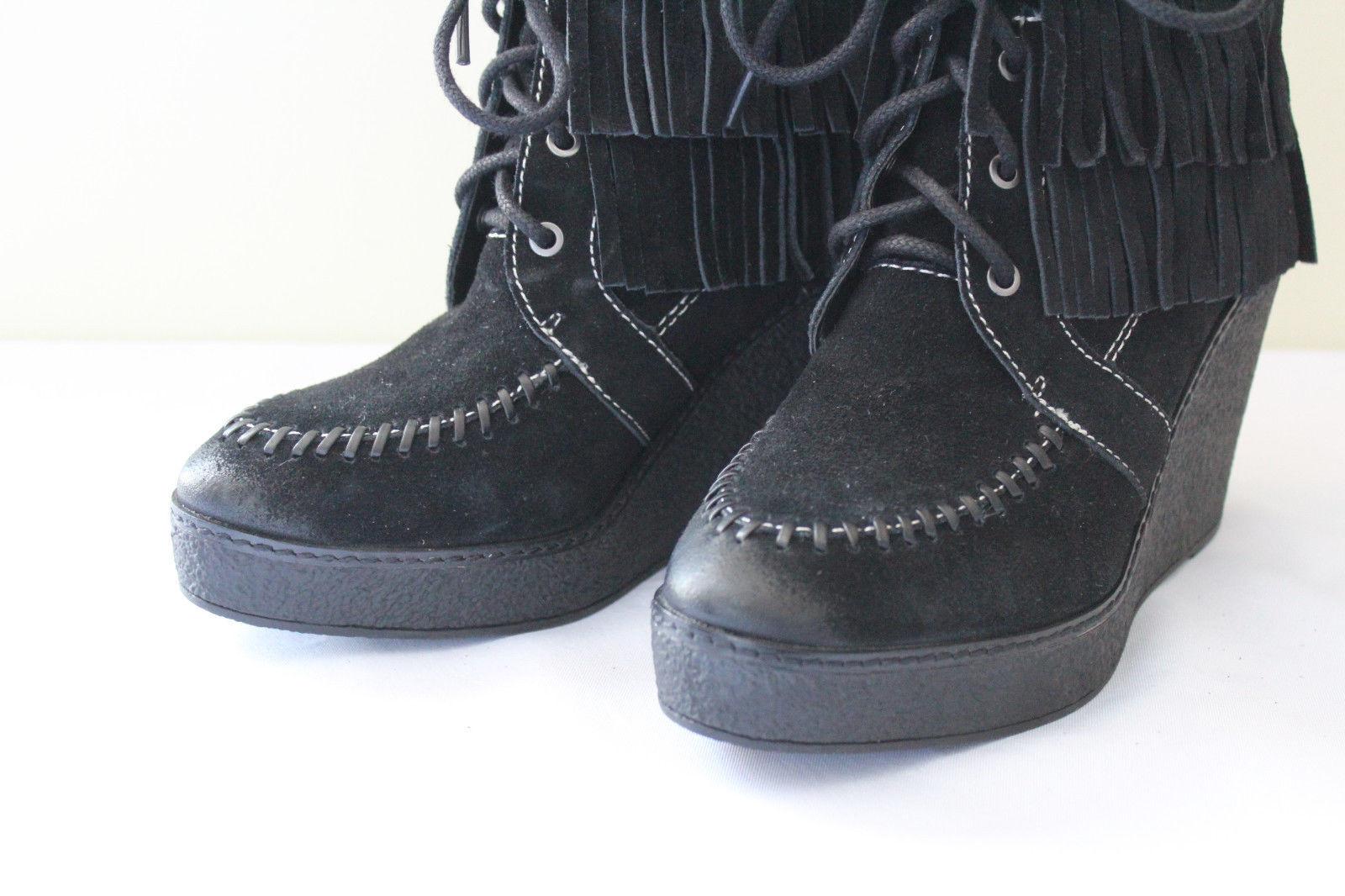 5a496d1d6df1 Sam Edelman Black Suede Leather Fringe Studded Kemper Boots 7 M  150