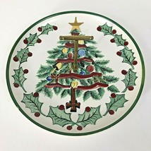 1956 Lefton Christmas Tree Plate T Handle Candy Cookie Appetizer Vintage - $15.79