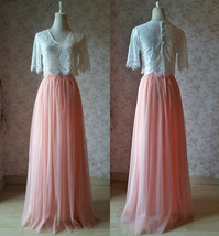 2 Piece Bridesmaid Dress Long Tulle Skirt Sleeve Crop Lace Top Bridesmaid Outfit image 1